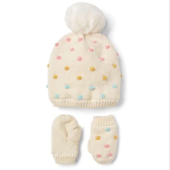 407c9b97234 GAP Other - NWOT GAP Dotty Dot Pom Pom Sweater Hat   Mittens